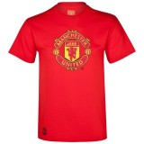 Manchester United Embroidered Crest Graphic T-Shirt - Red - Mens